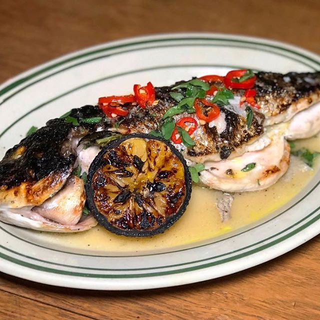 Pelagic magic!Fresh fish from our Antique Bar and Bakery coal oven