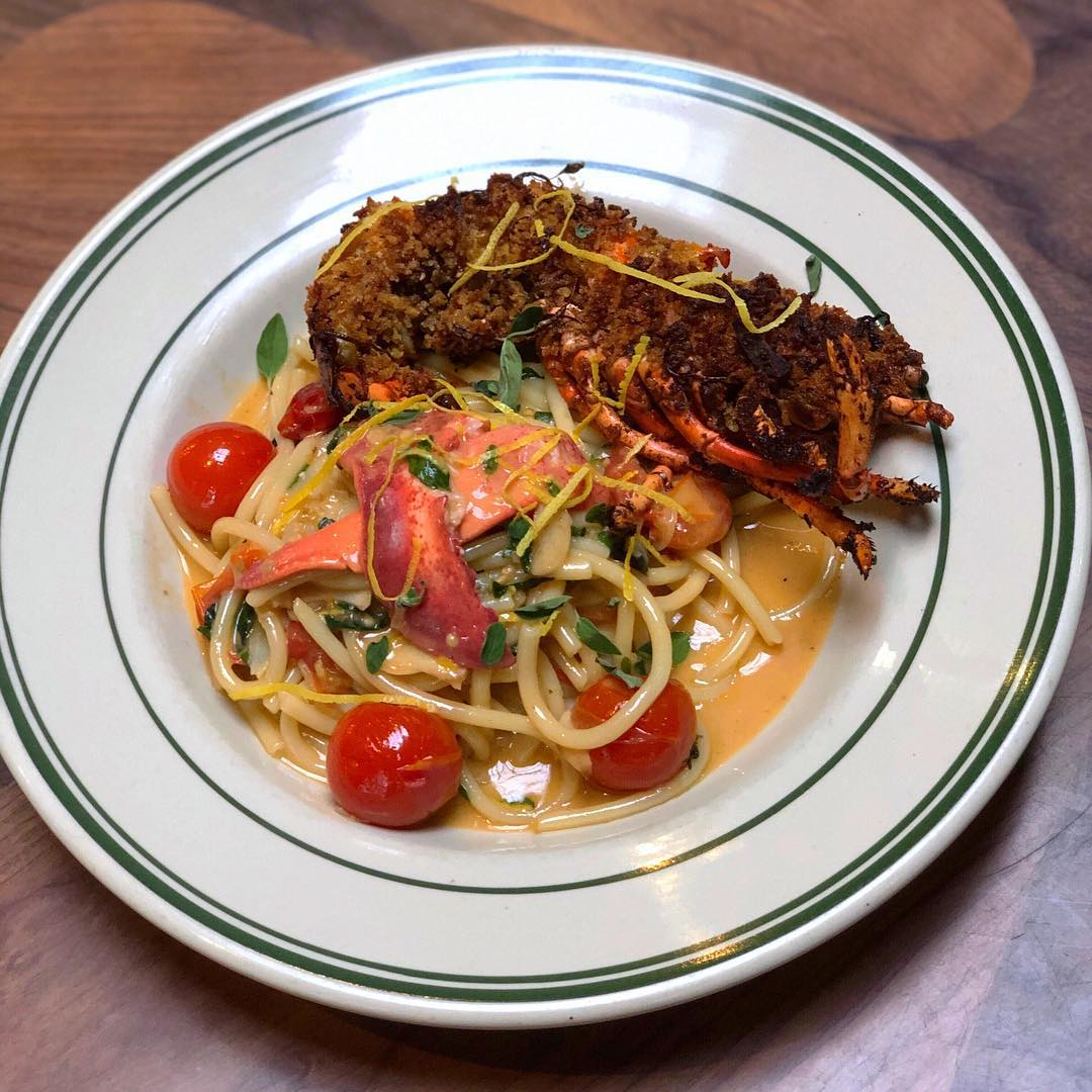Lobster Pasta for the Super Bowl - Antique Bar and Bakery