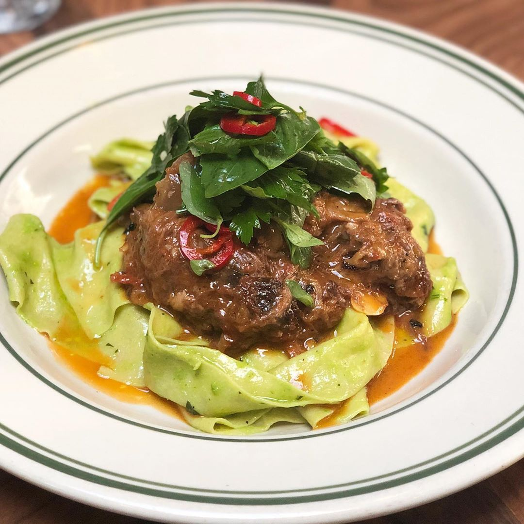 Beef Shank Ragu with green garlic & parm pappardelle and Antique Bar and Bakery!
