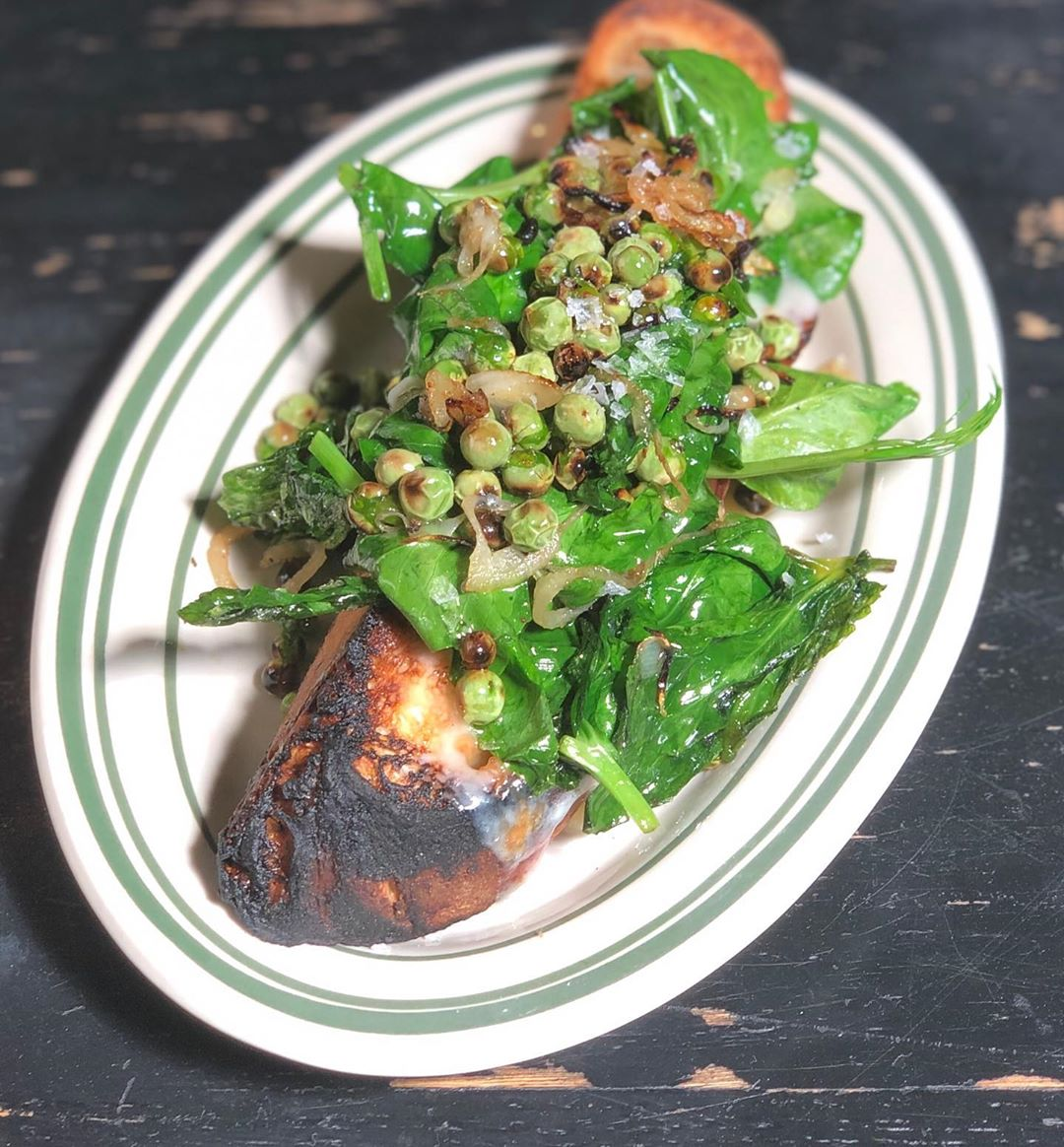 Charred Peas, pea tendrils and young pecorino at Antique Bar and Bakery!
