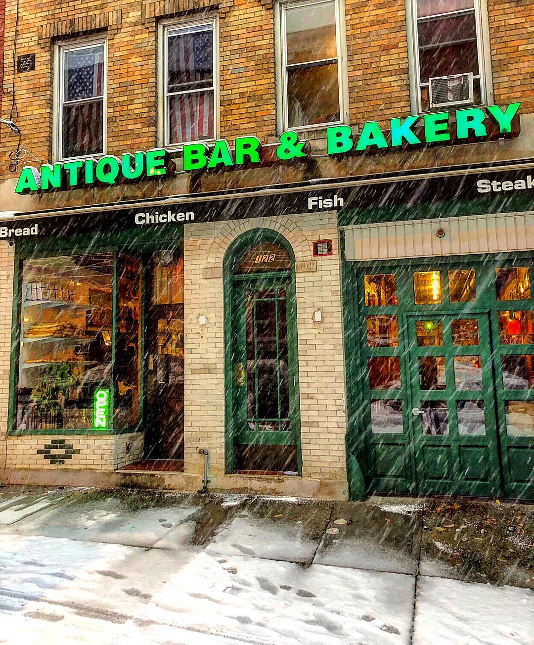 Keep off the cold and come into the fire at Antique Bar and Bakery