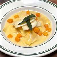 Butternut & Mascarpone Ravioli, Parmigiano Broth, get it ONLY at Antique Bar and Bakery