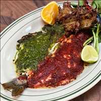 Whole roasted fish at Antique Bar and Bakery, the best fish in Hoboken!