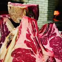 A mountain of marbled rib-eye, the best steaks in Hoboken at Antique Bar and Bakery!
