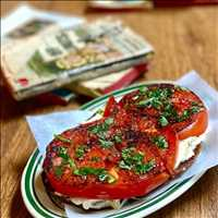 Antique tomato toast, a delicacy found only at Antique Bar and Bakery in Hoboken