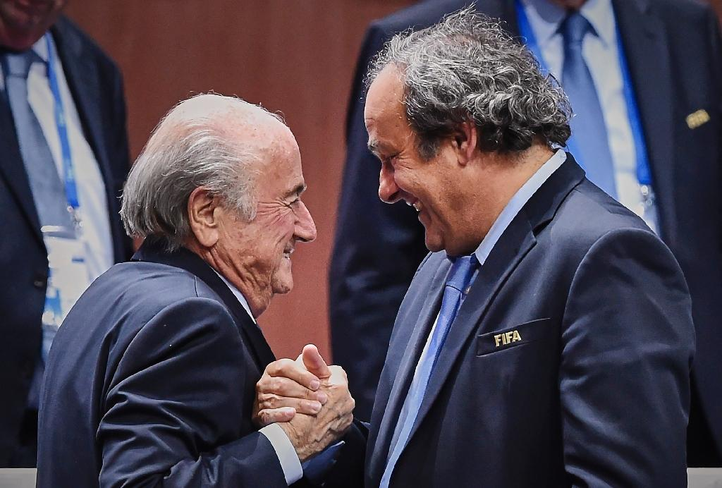 Sepp Blatter and Michel Platini in Zurich on May 29, 2015