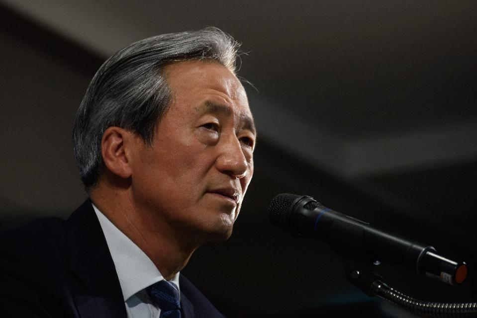 FIFA presidential hopeful Chung Mong-Joon, speaking in Seoul