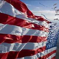 American Flag Skydive With Streamers