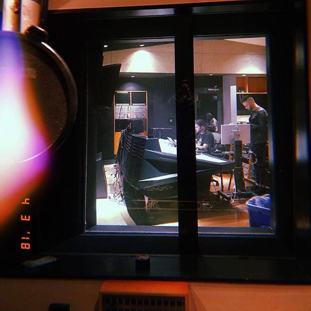 In a recording studio.