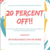 Take 20% off on orders $100 or more at Urban CBD Collective - 404-443-3224