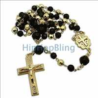 Black Gold Crystal Beaded Rosary Necklace