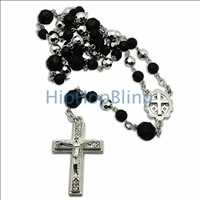 Black & Silver Crystal Beaded Rosary Necklace
