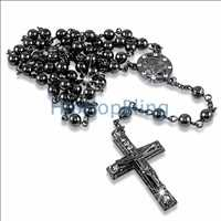 Black Hip Hop Rosary Necklace