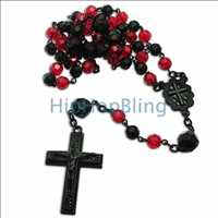 Red & Black Crystal Beaded Rosary Necklace