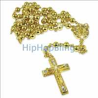 Gold Hip Hop Rosary necklace