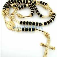Gold Black Solitaire Raw Ice Bling Bling Rosary Necklace