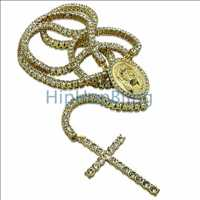 1 Row Iced Out Gold Rosary Necklace Bling