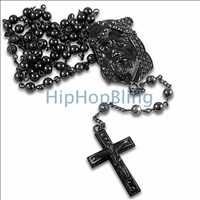Black Jesus Piece Bling Bling Rosary Chain
