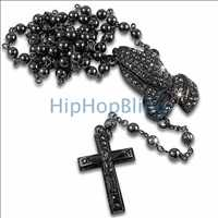Praying Hands Bling Bling Black Rosary Necklace