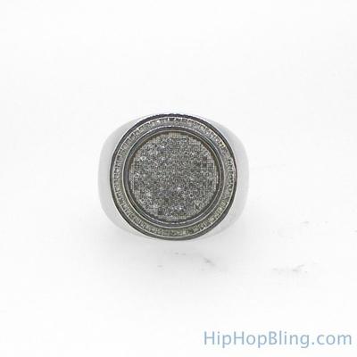 Large Circle Diamond Mens Ring .57 Carats