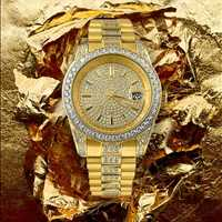 Mood: Boss Bitch. Rep in gold, iced out watch for sale from Hip Hop Bling