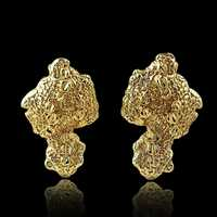 Gold nugget earrings plated in 18K gold, 5x Thick - get them at Hip Hop Bling