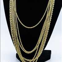 10K Yellow Gold Diamond Cut 3MM French Rope Chain from Hip Hop Bling
