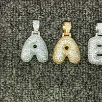 A-Z Bubble Letters - .925 Silver Diamond Pendants From Hip Hop Bling