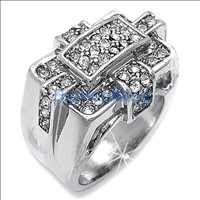 Ice Trap Iced Out Mens Rhodium Bling Bling Ring