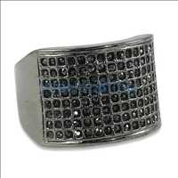 Black Fully Iced Out Thumb Bling Bling Ring
