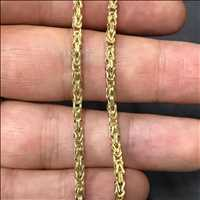 Solid yellow gold Byzantine chains available in a variety of sizes from Hip Hop Bling