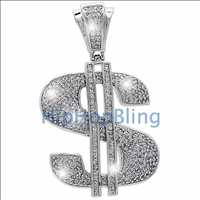 Dollar Sign CZ Bling Bling Micro Pave Pendant .925 Sterling Silver MPP48