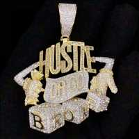 Hustle hard or go broke, the choice is yours. Custom pendant from HipHopBling.com