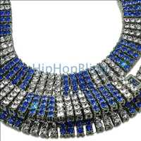 Blue Silver 4 Row Iced Out Chain