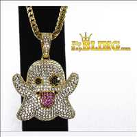 Iced out ghost pendant available from Hip Hop Bling