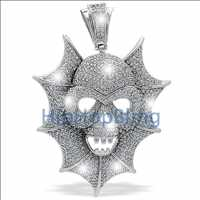 Skull in Web of Ice Totally Blinged Out Micro Pave Pendant .925 Silver MPP82