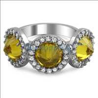 Fashion Reverse CZ Canary Diamond Pave Ladies Ring