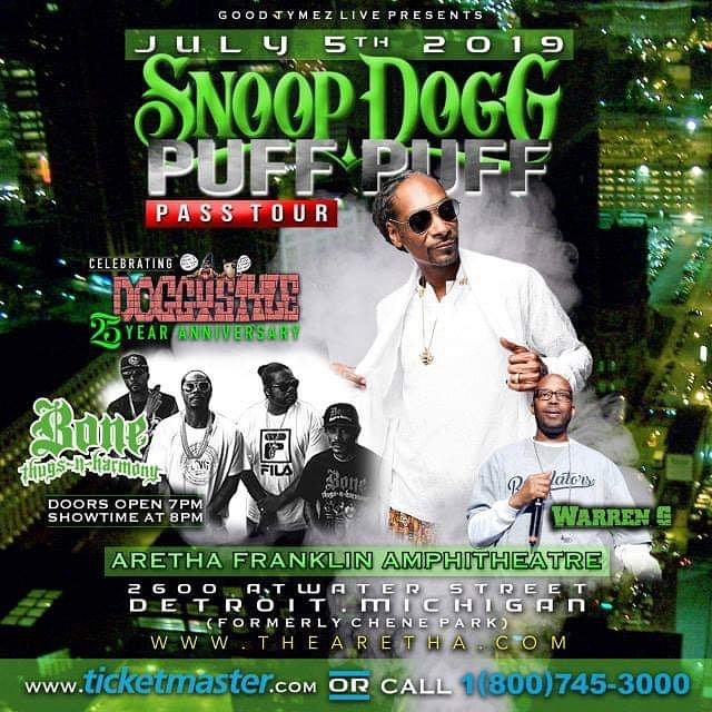 See y'all July 5th, Detroit get ready! Snoop Dogg, Warren G, Layzie Bone!