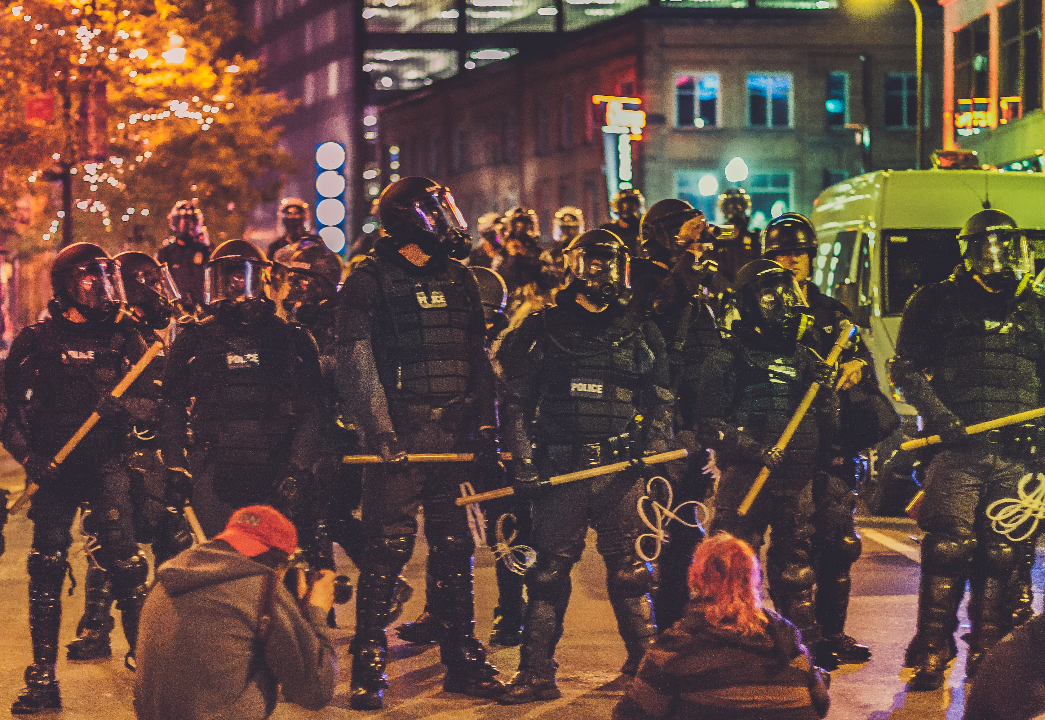 Police Riot Gear, Protesters