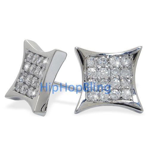 .925 Sterling Silver Iced Out 32 Stones Kite Micro Pave Earrings