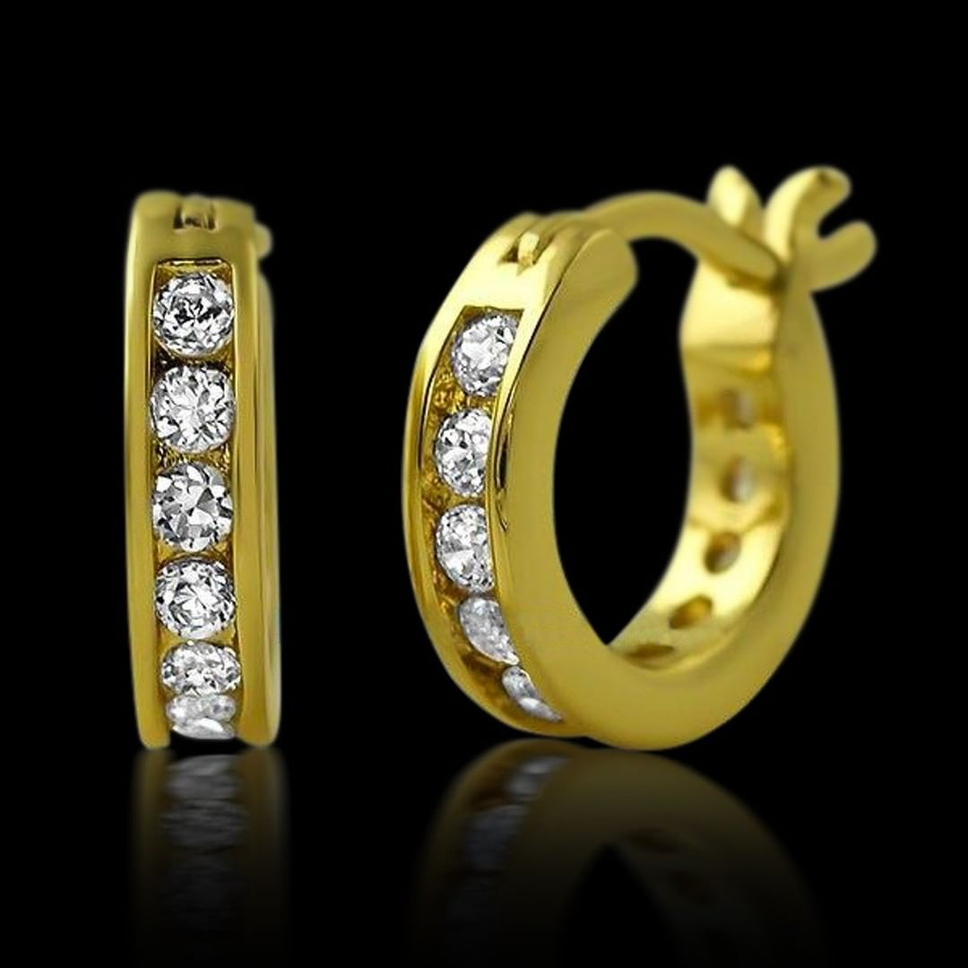 Channel hoop gold CZ earrings from Hip Hop Bling, the illest iced out earrings for any occasion.