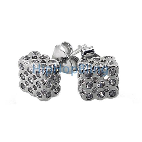 3D CZ Bezel Cube 3x3x2 .925 Silver Micro Pave Earrings