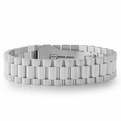 Silver Stainless Steel President Bracelet