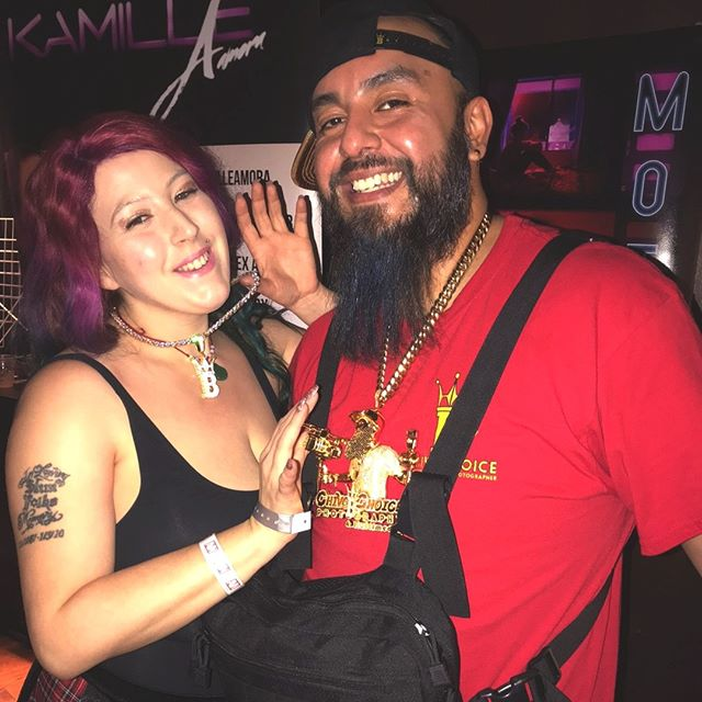 At the AVN in Vegas with Kamille Amora and our custom jewelry - Hip Hop Bling
