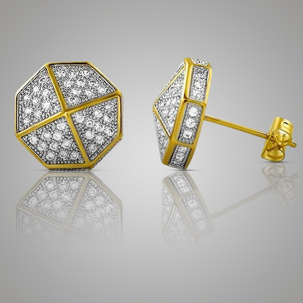 Bangin' gold and diamond earrings for sale, iced out jewelry style
