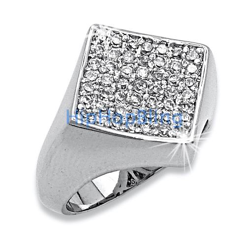 Diamond Classic Micro Pave .925 Sterling Silver CZ Mens Ring