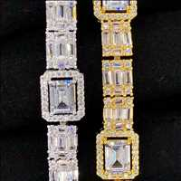 Real gold and simulated diamond baguette bracelets from HipHopBling.com