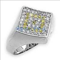 Diamond Classic .925 Sterling Silver White Yellow CZ Mens Micro Pave Ring