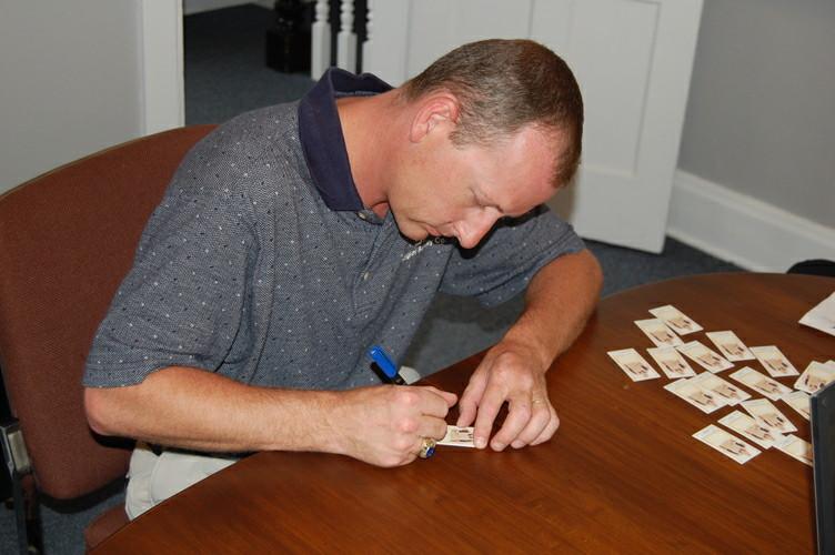 ACO Cornholer Matt Guy Signing Topps Cards 2011