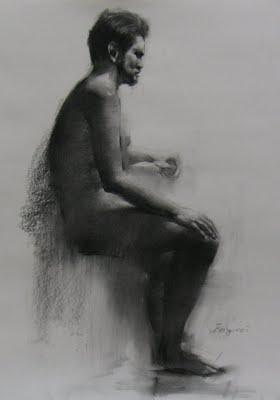 """""""Figure drawing 2"""" original fine art by Fongwei Liu"""